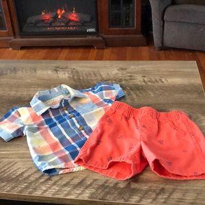 Boys Button-up Dress Shirt/Short Set (#045F)